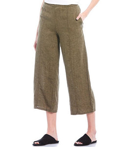 Eileen Fisher Organic Washed Linen Pull-On Wide Cropped Pant