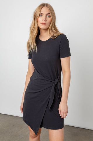 Rails Edie Wrap Skirt Short Sleeve Cotton Dress in Black