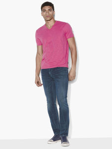 John Varvatos MILES S/S SLUB V-NECK WITH CUT RAW EDGE