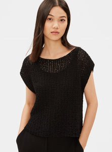 Eileen Fisher Organic Cotton Nylon Tape Cap Sleeve Top - Black or White