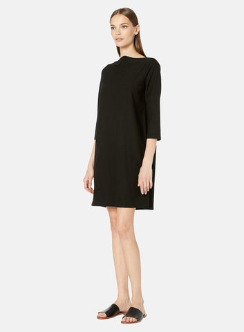 Eileen Fisher Bateau Neck 3/4 Sleeve Knee Length Dress  - Black