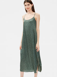 Eileen Fisher Silk Organic Cotton Maxi Dress - Nori