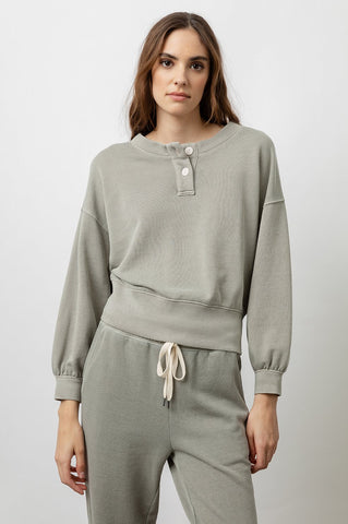 Rails Erin French Terry Henley L/S in Sage