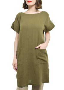 Eileen Fisher Organic Cotton Gauze S/S Dress w Pockets