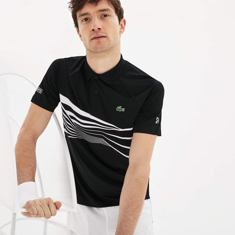 Lacoste Men's SPORT Novak Djokovic Collection Tech Jersey Polo Black/White
