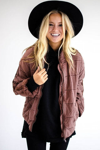 Free People Dolman quilted knit jacket in Cherry Cola