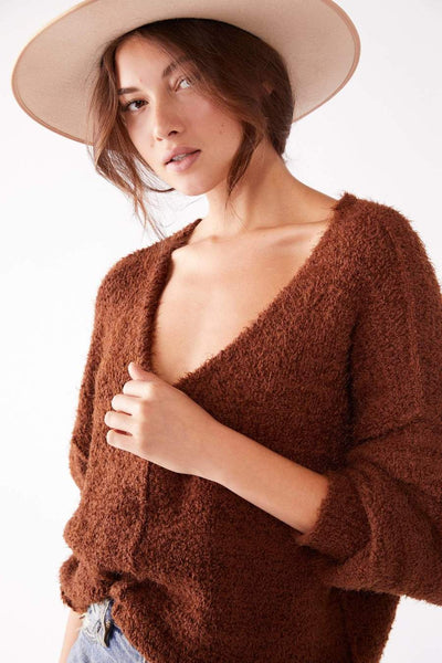 Free People  Icing V Pullover in Mocha Java