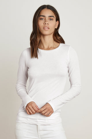 Velvet Zofina05 Gauzy Whisper Classic L/S Top in White