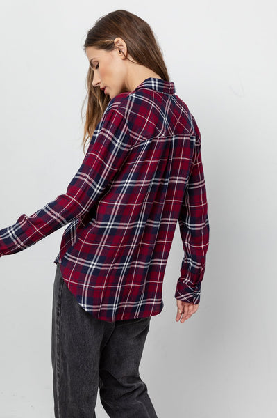 Rails Hunter Plaid L/S in Currant/Navy/Ivory