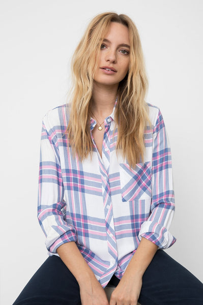 Rails Hunter plaid shirt in white sky pink