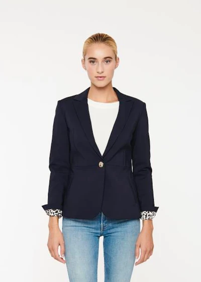 John & Jenn Ricardo Single Button Blazer - Navy and White