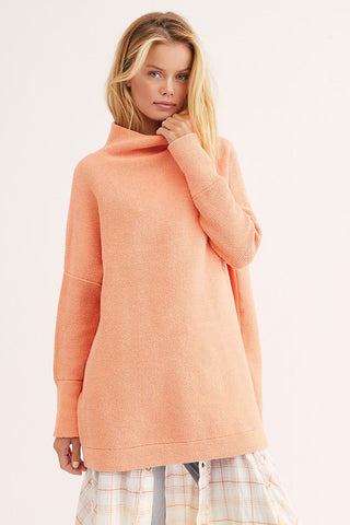 Free People Ottoman Slouchy Tunic in Electric Tangerine