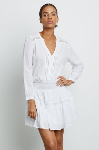 Rails Jasmine l/s linen dress in White Lace Detail