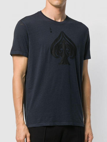 John Varvatos Ace of Spades Graphic Tee - Officer Blue