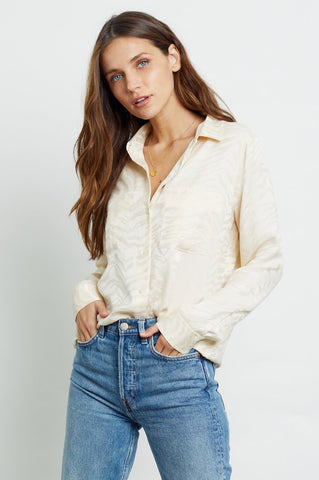 Rails Kate Silk Long Sleeve Button Down in White Tiger