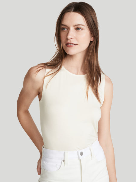 L'AGENCE Shelly Tank Top in Vintage White