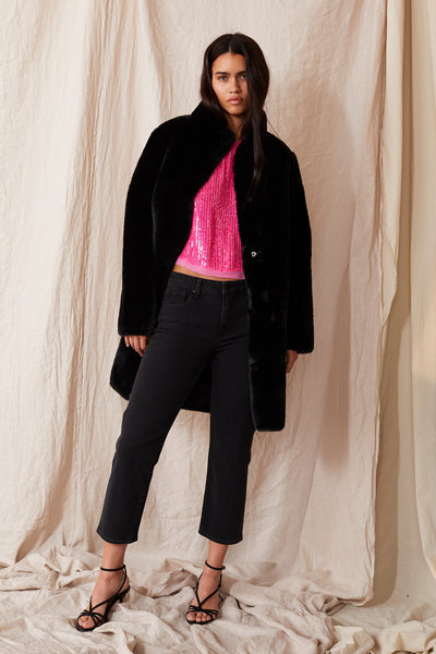 Velvet Mina Reversible Lux Fur Coat in Black