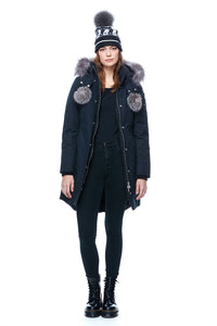 Moose Knuckles Women's Stirling Parka Navy w/Frost Fox