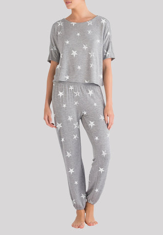 Honeydew Sun Lover Lounge Set in Heather Grey Stars