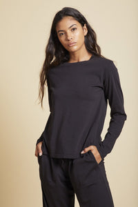 Velvet Vicente Organic Jersey Crew Long Sleeve in Black