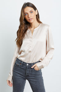 Rails Pearl Satin Crepe Blouse in Champagne