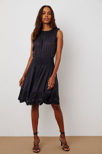 Velvet Allister Schiffli Lace Sleeveless Dress in Vintage Black
