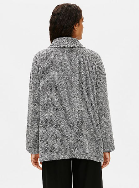 Eileen Fisher Shawl Collar Jacket in Soft White/Black
