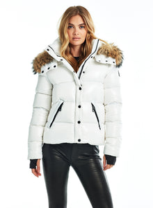 SAM Fur Annabelle Down Jacket w Removable Hood Marshmallow