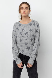 Rails Theo Melange L/S Pocket Tee in Grey Stars