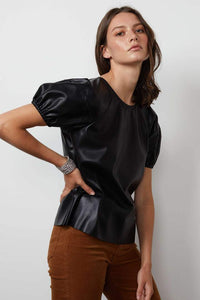Velvet Foley Vegan Leather Top