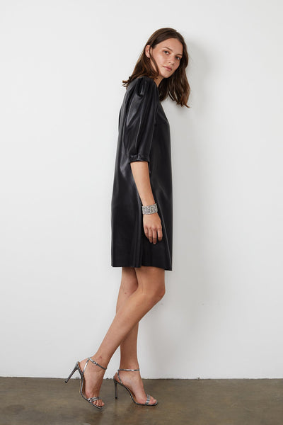Velvet Pam Vegan Leather Short Sleeve Dress in Black
