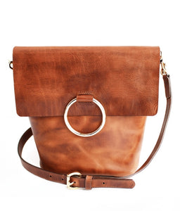 Brave Virtue Crossbody Bag with Oversize Ring in Cognac
