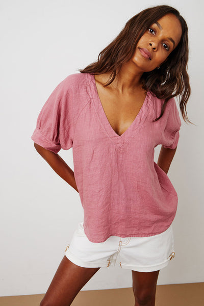 Velvet Adley Woven Linen Short Sleeve V-Neck Top in Cranapple
