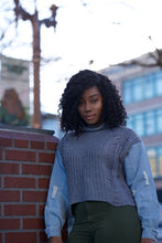 """Knit & Denim"" Sweater Top"
