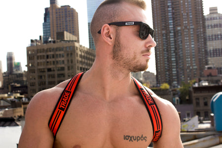 LIMITED EDITION: TRADE x Breedwell LED Glow Harnesses on hot shirtless guy