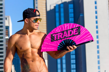 Neon Pink TRADE Fan on hot shirtless guy
