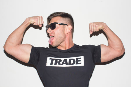 Bruce Beckham Flexing Wearing Black TRADE Shirt
