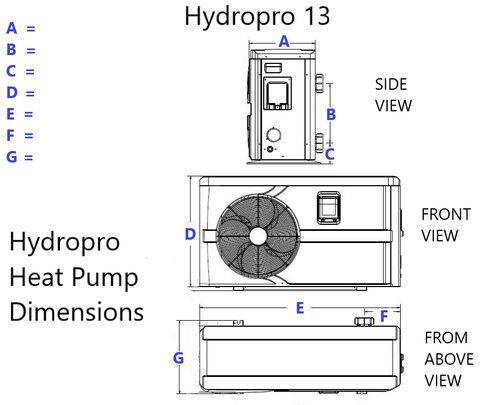 Hydropro 13 Swimming Pool Heat Pump Sizing Diminsiosns