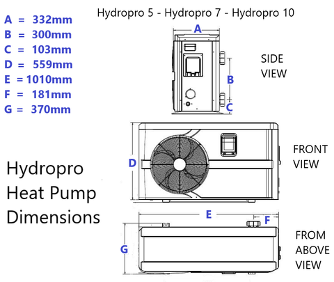 Hydropro 10 Swimming Pool Heat Pump Sizing Dimensions WOP
