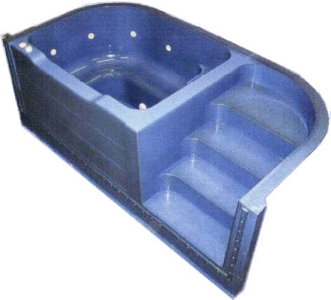 Grecian Spa Step - Foamed Pool Step Unit With Spa & Air Track - World of Pools