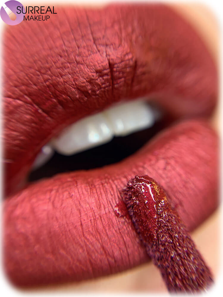 ruby lipstick closeup