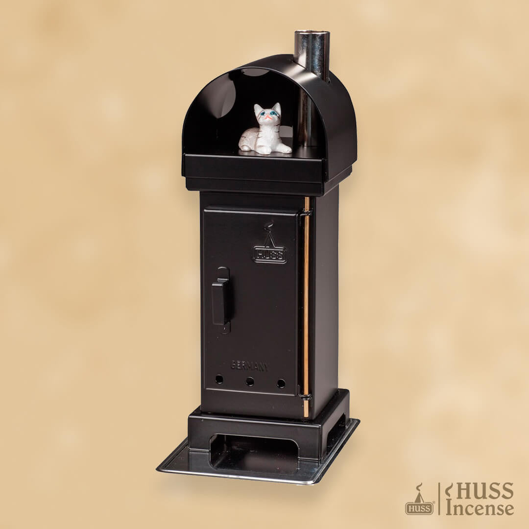 HUSS Incense Cone Wood Burner with cat