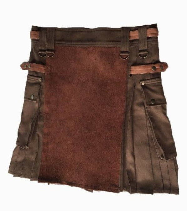 brown kilt, leather kilt, kilt, mens kilt, utility kilt, adjustable kilt