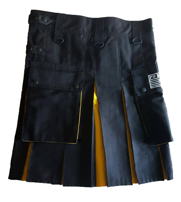 Men's Two-Tone Kilt - Black and Yellow