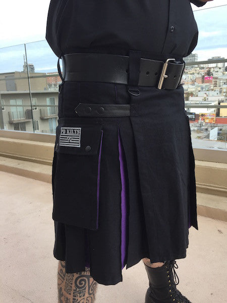 Men's Two-Tone Kilt - Black and Purple