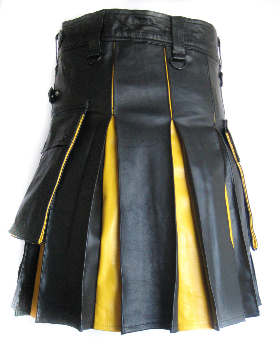 Men's Leather Two-Tone Kilt - Black and Yellow