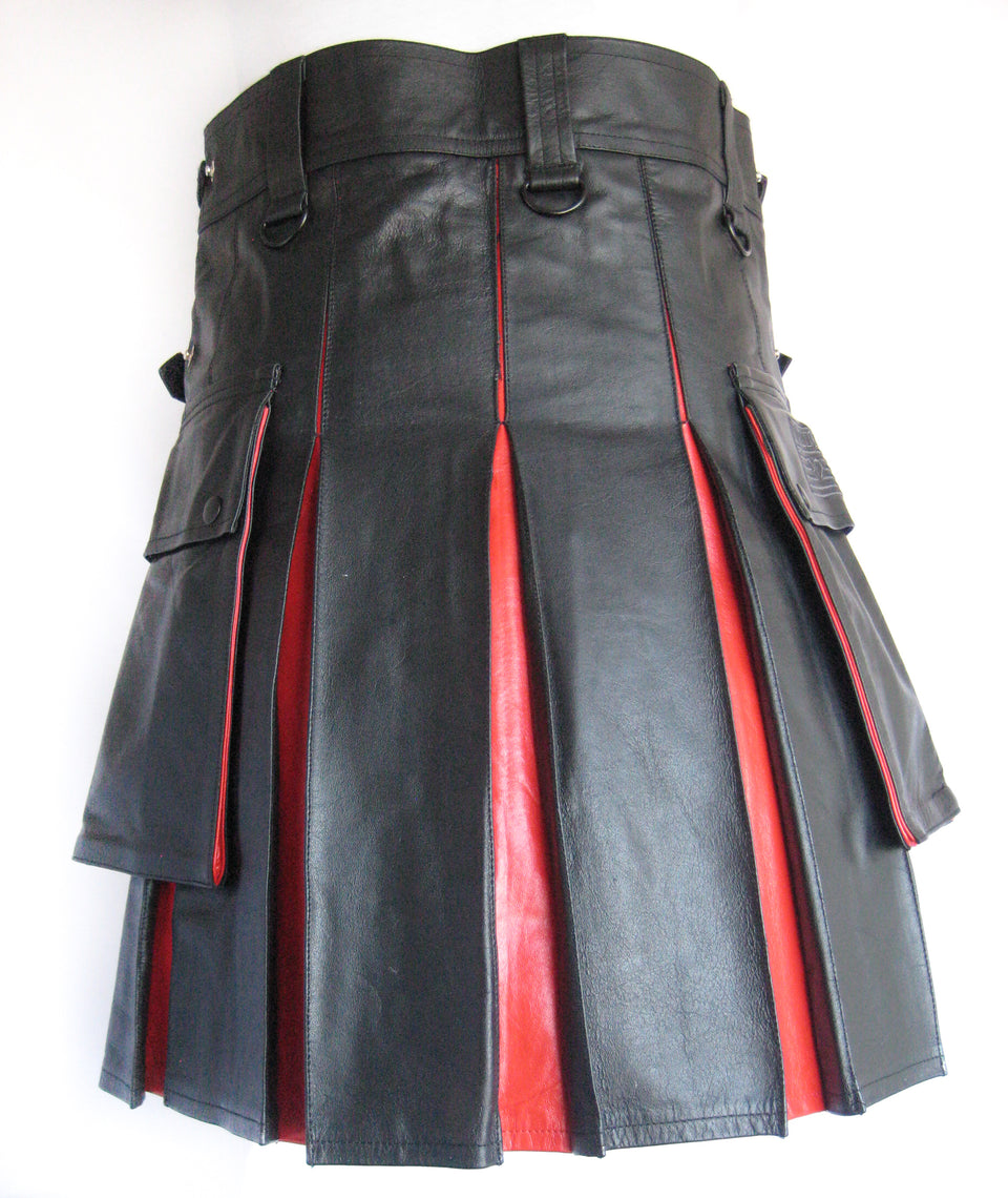 Men's Leather Two-Tone Kilt - Black and Red