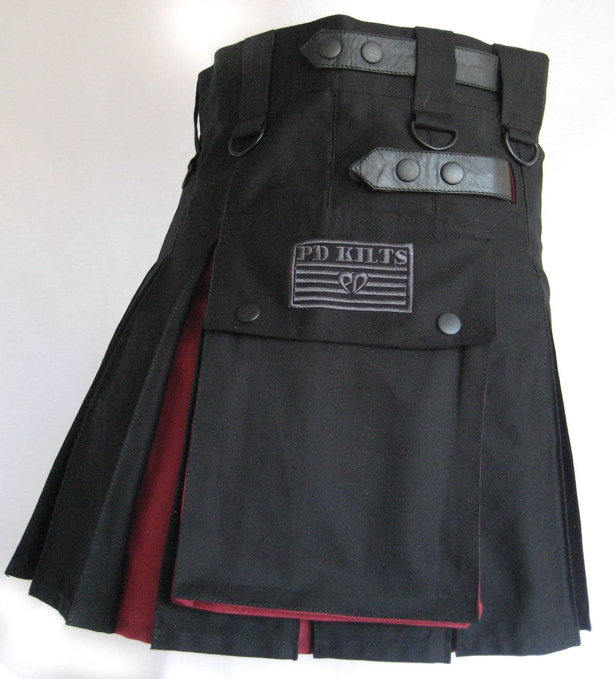 Women's Two-Tone Kilt - Black and Burgundy