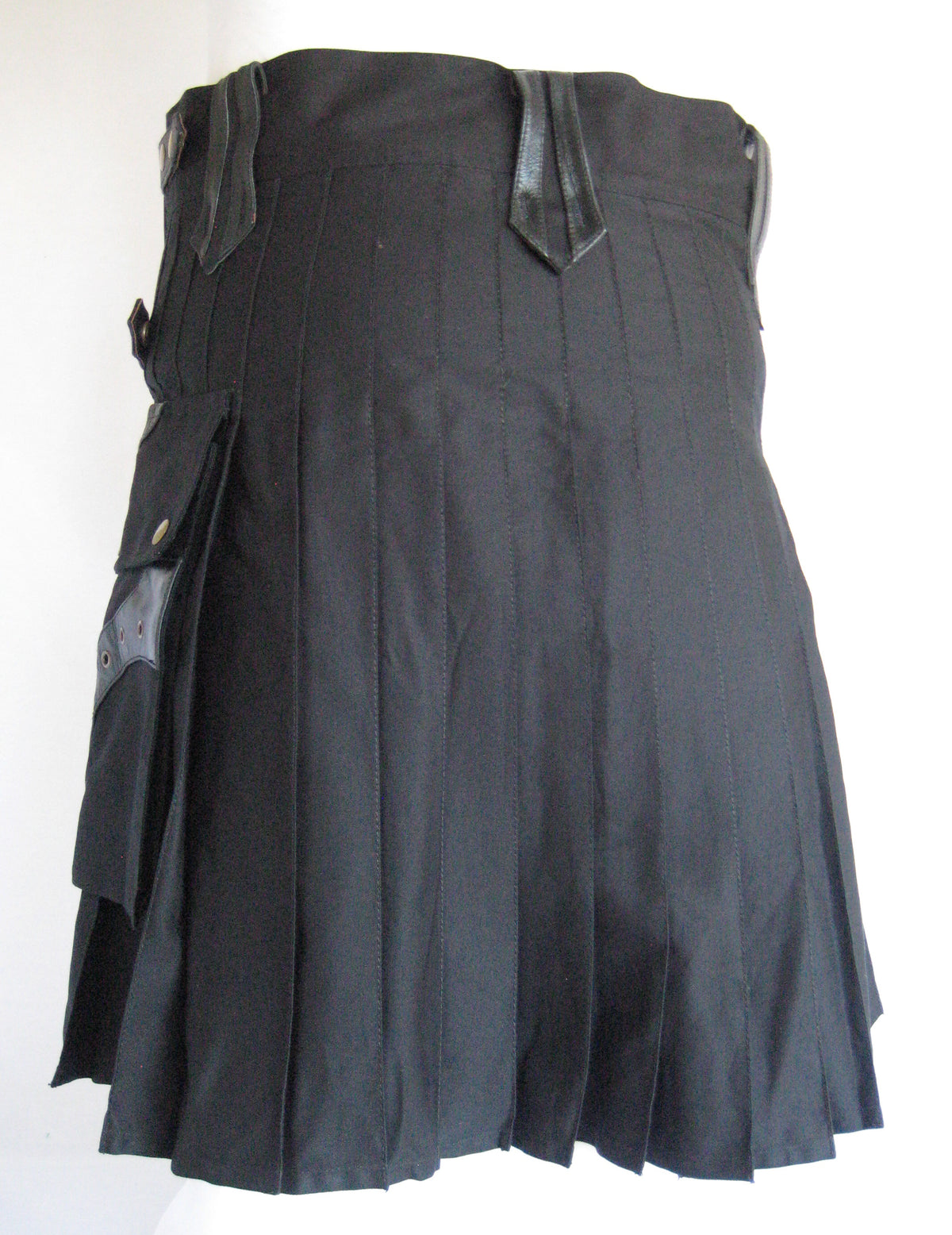 Men's Steampunk Black Kilt with Black Leather Accents