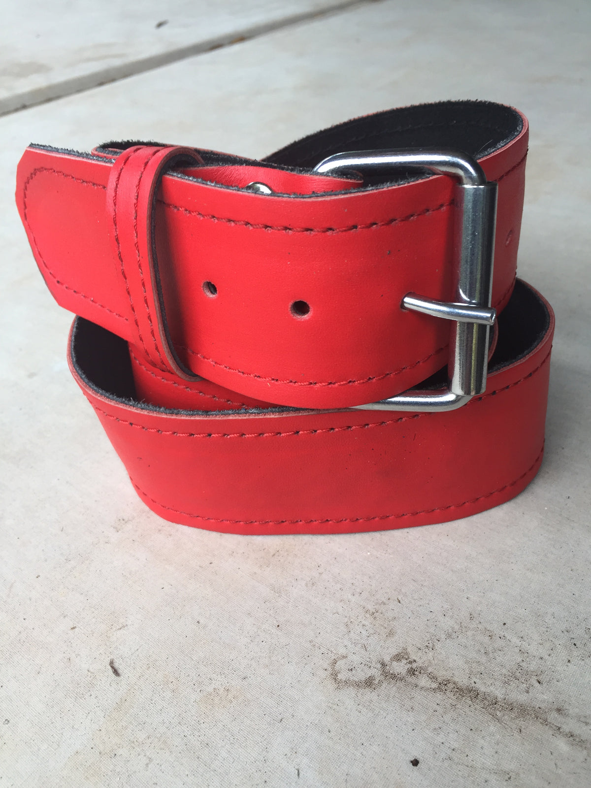 Red Leather Kilt Belt